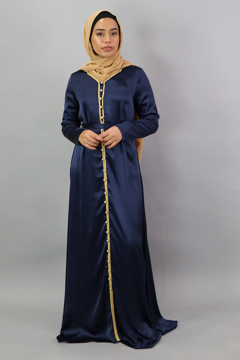 LaMeera Satin Kaftan - Midnight Blue