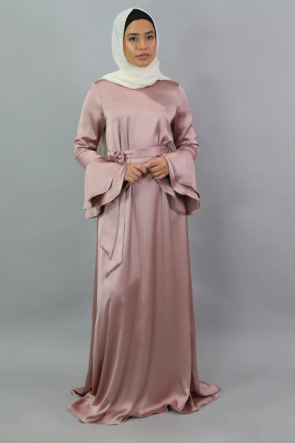LaMeera Double Bell Sleeve Satin Dress - Dusty Rose