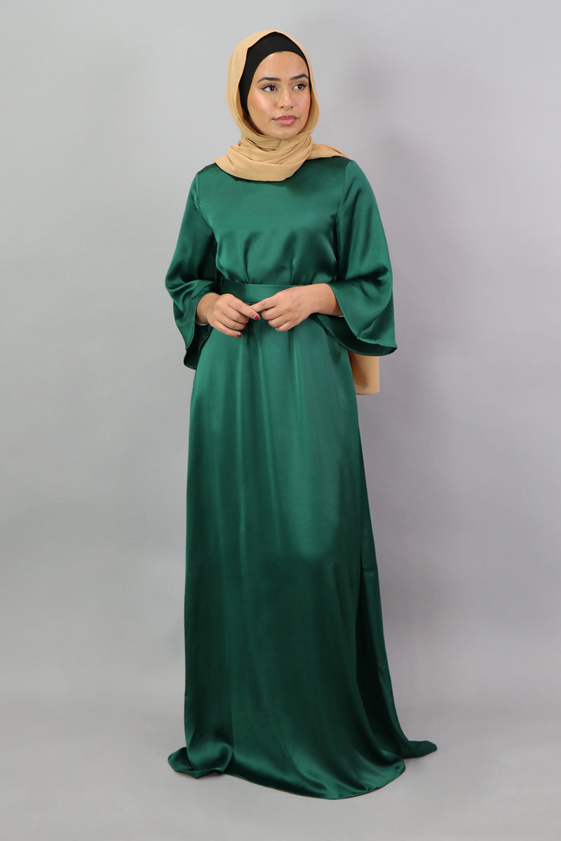 LaMeera Mid-Sleeve Satin Dress - Emerald Green