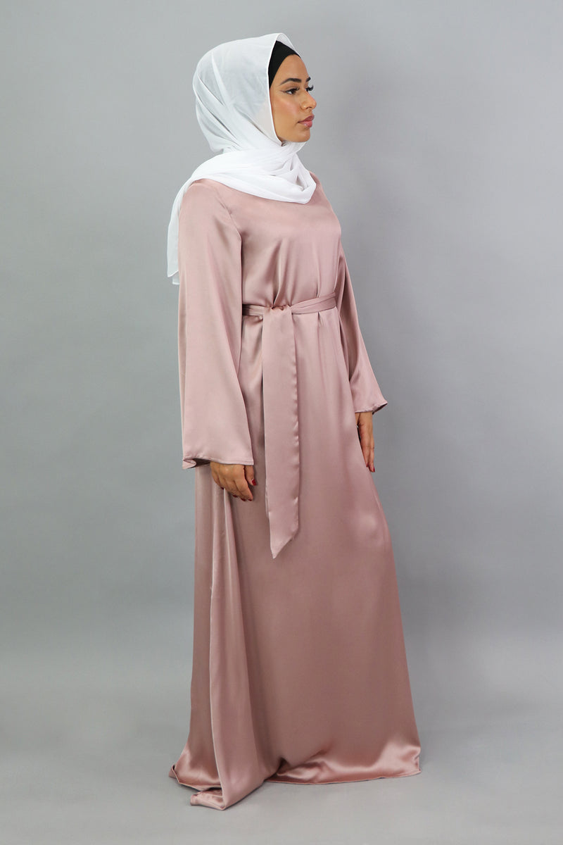 LaMeera Wide Sleeve Satin Dress - Dusty Rose