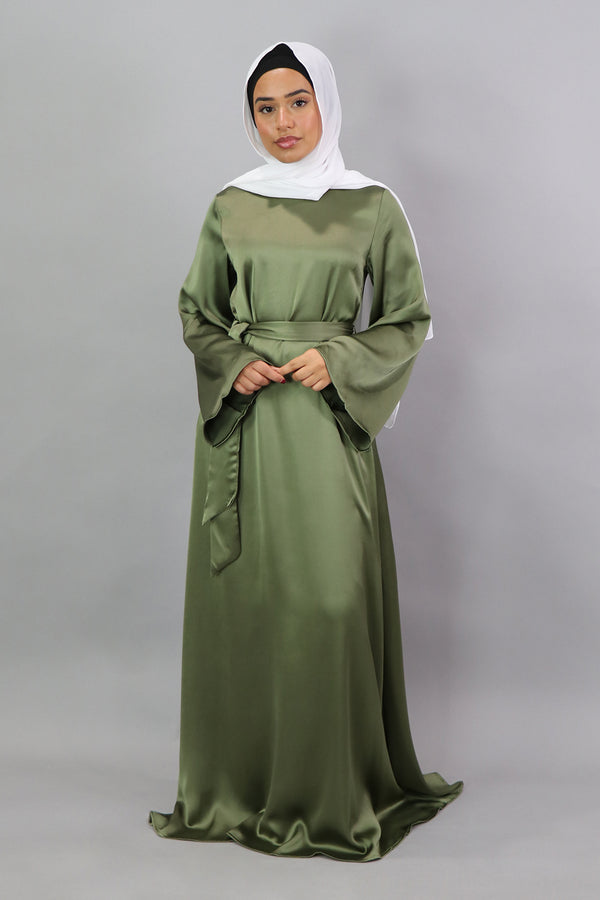 LaMeera Wide Sleeve Satin Dress - Sage Green