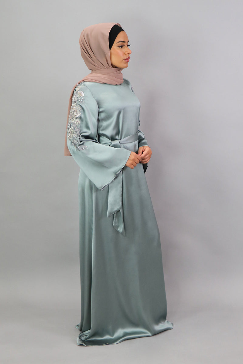 LaMeera Lace Sleeve Satin Dress - Mint Gray