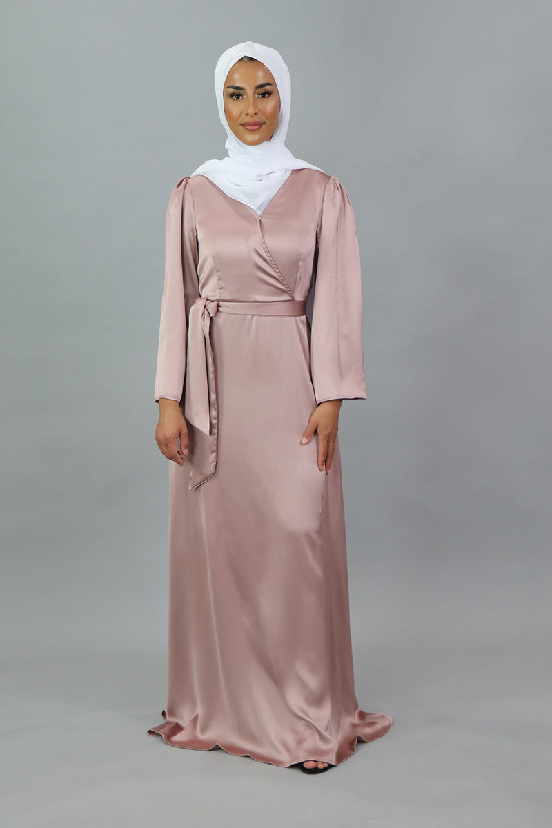 LaMeera V-Neck Satin Dress - Dusty Rose