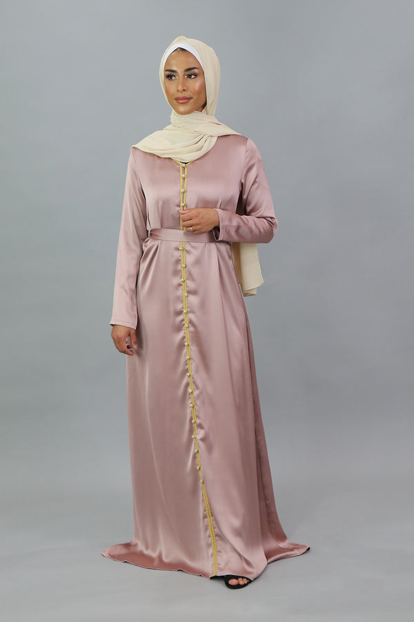 LaMeera Satin Kaftan - Dusty Rose