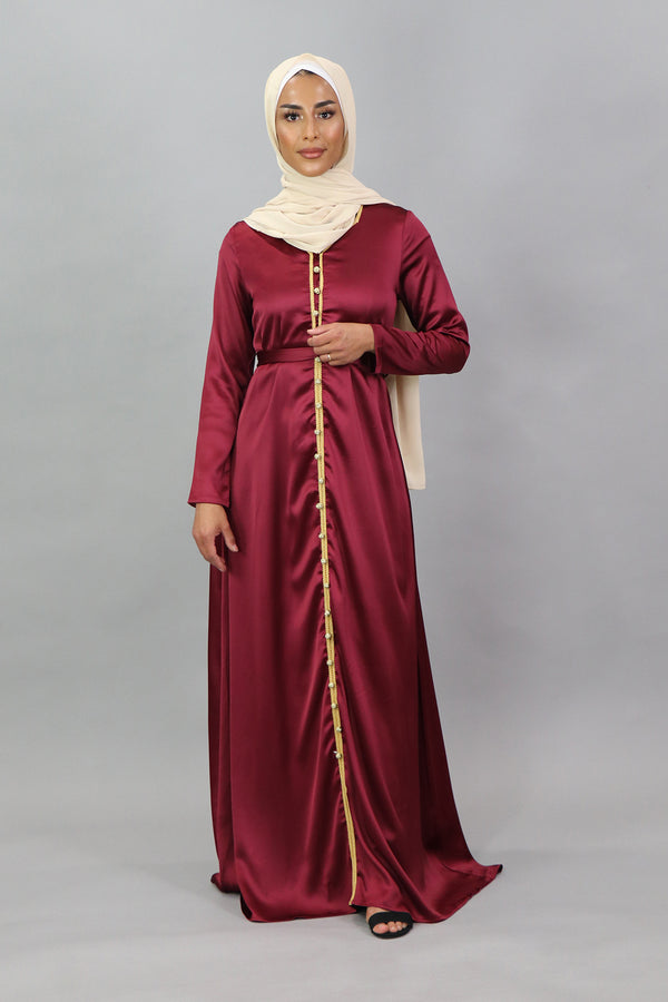 LaMeera Satin Kaftan - Ruby Red
