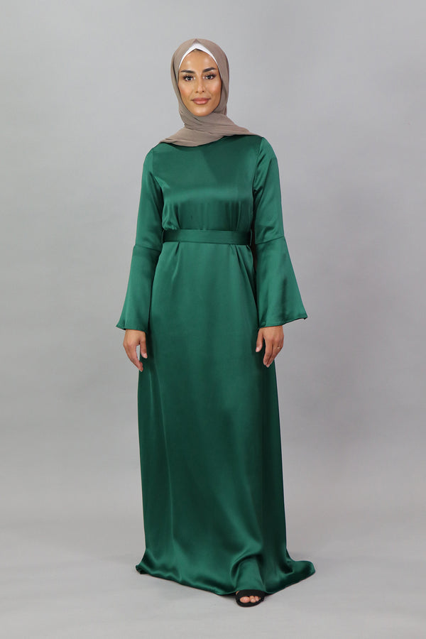 LaMeera Bell Sleeve Satin Dress - Emerald Green