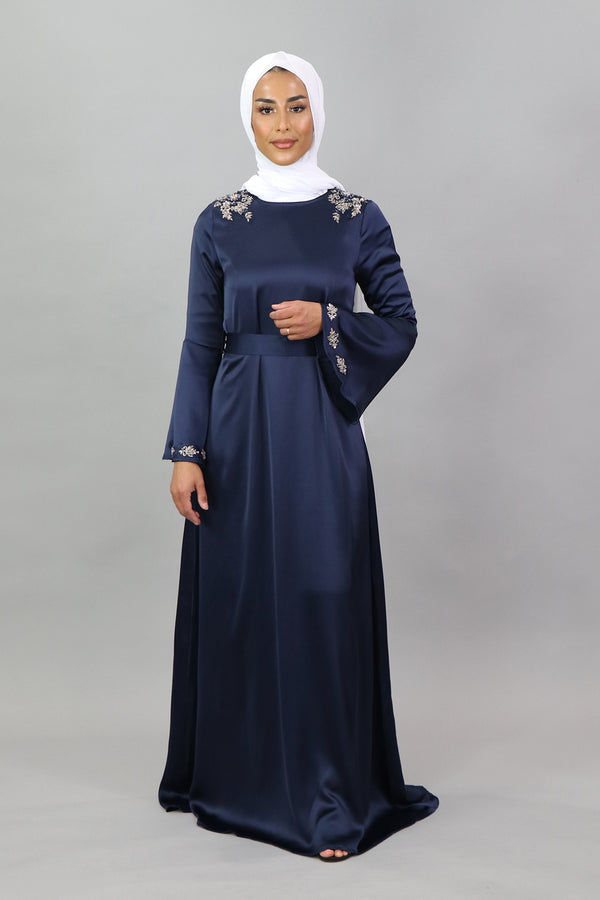 LaMeera Lace Bell Sleeve Satin Dress - Navy Blue