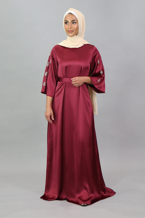 LaMeera Lace Mid-Sleeve Satin Dress - Ruby Red