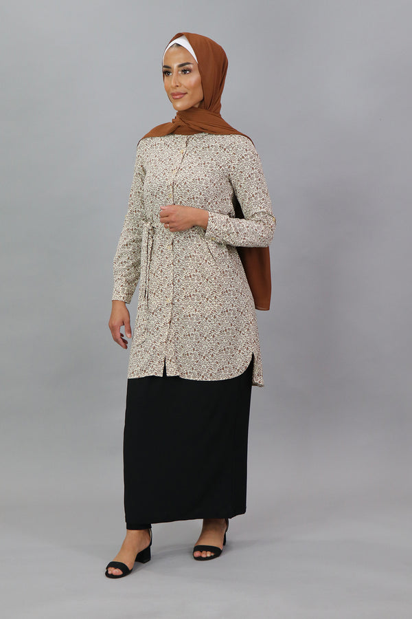 Cream/Brown Floral Long Blouse
