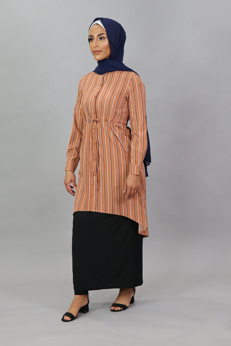 Apricot Striped Buttoned-Down Tunic Dress