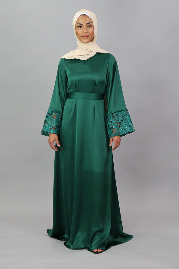 LaMeera VIP Wide Sleeve Lace Satin Dress - Emerald Green