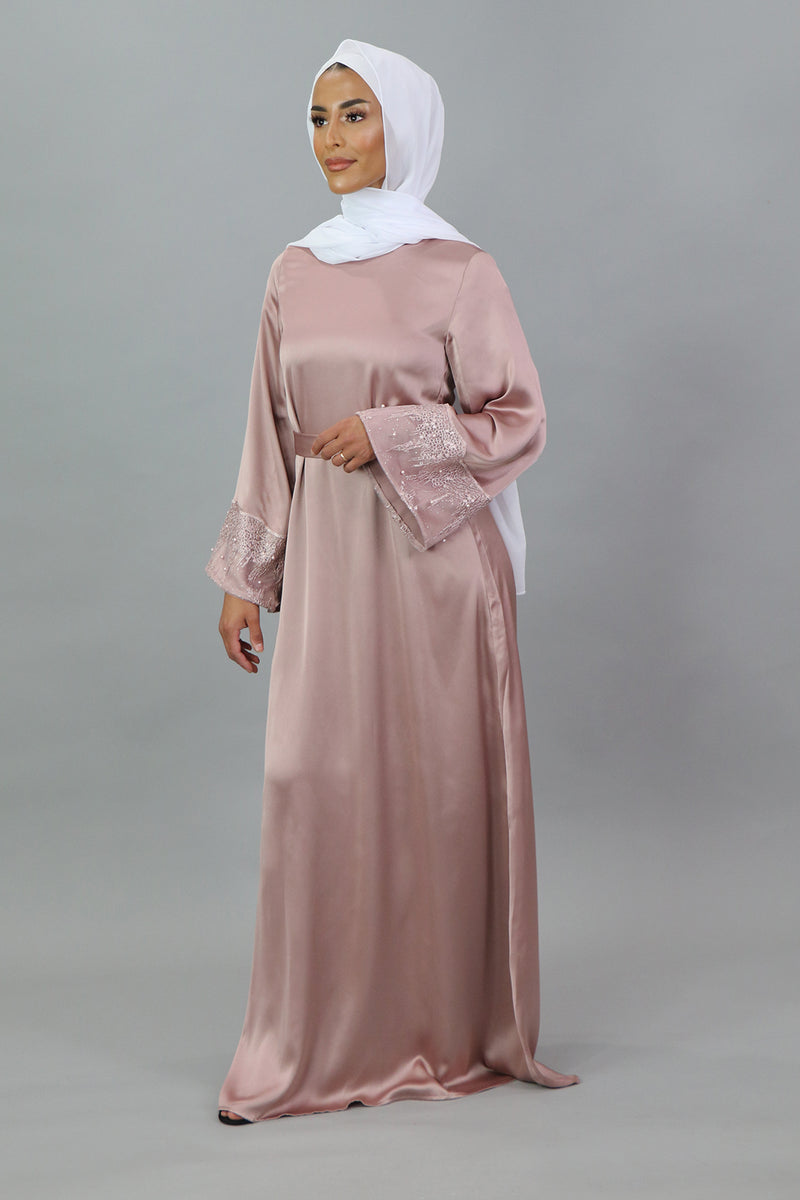 LaMeera VIP Wide Sleeve Lace Satin Dress - Dusty Rose