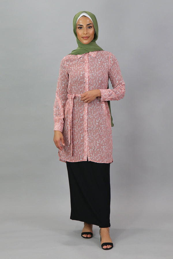 Pink Floral Long Blouse