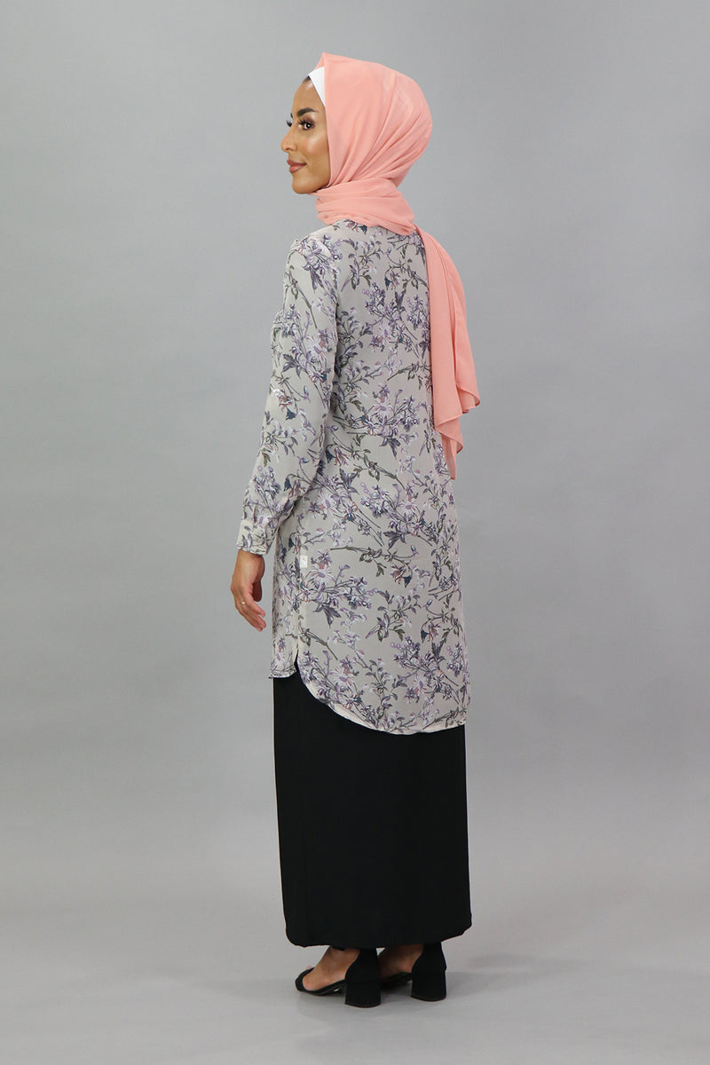 Lavender Floral Long Blouse