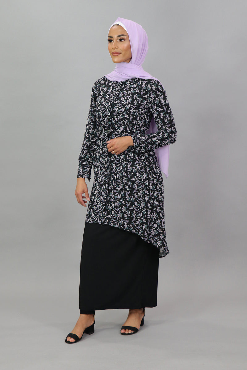 Black/Purple Floral Buttoned-Down Tunic Dress