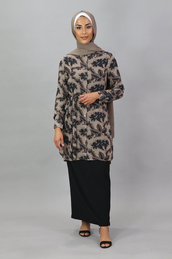 Khaki Floral Long Blouse