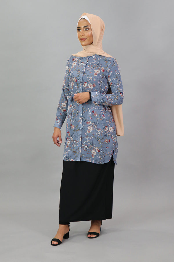 Serenity Blue Floral Long Blouse