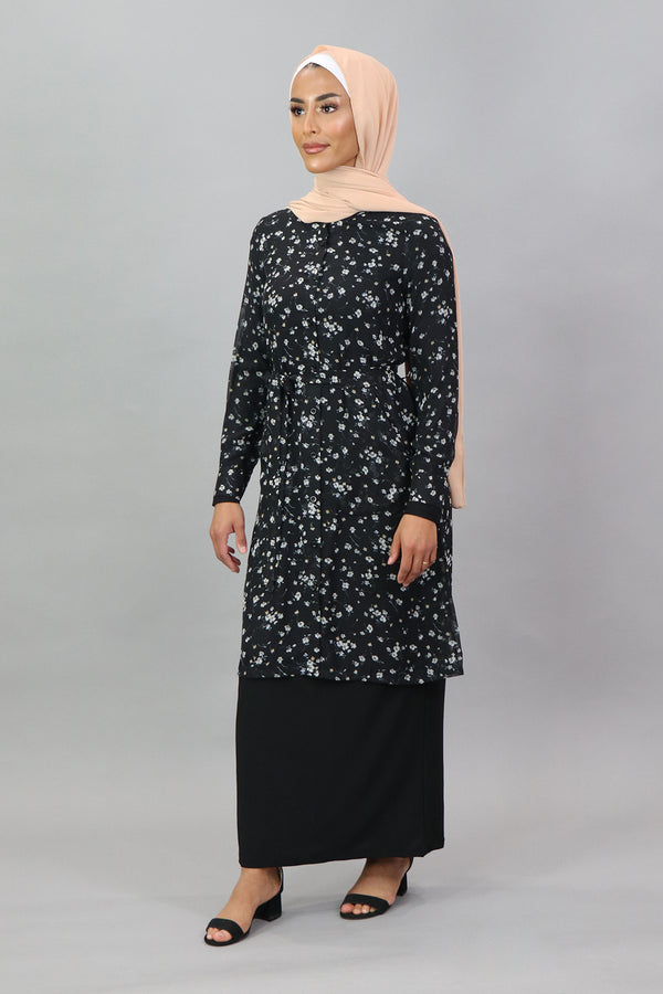 Black Floral Long Tunic