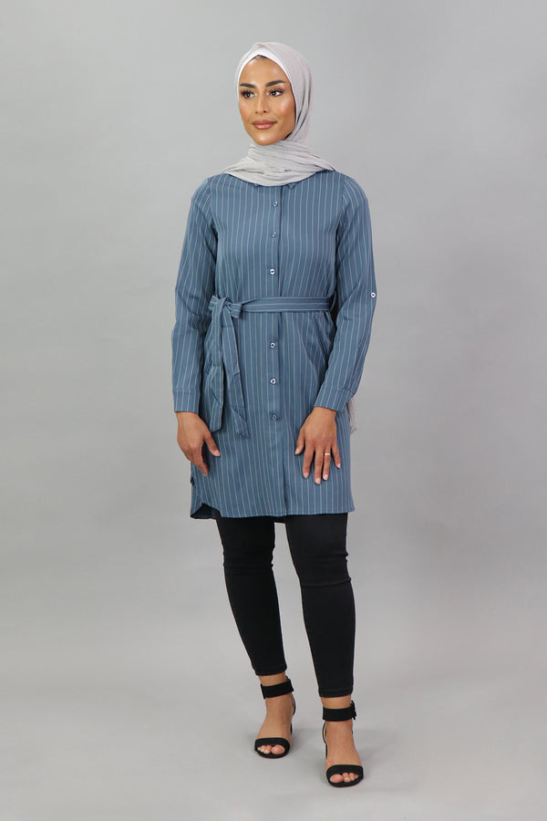 Blue-Gray Striped Long Blouse