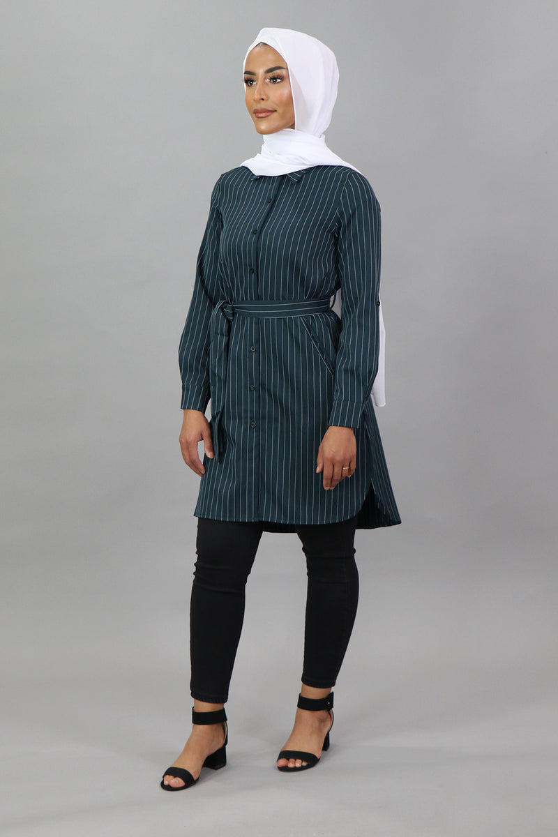 Teal Striped Long Blouse