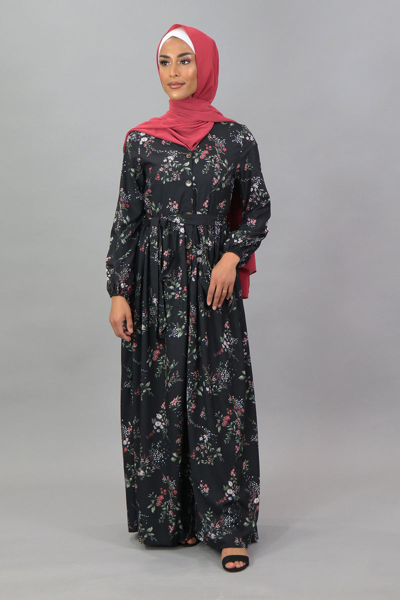 Black/Pink Floral Pocket Buttoned-Down Maxi Dress