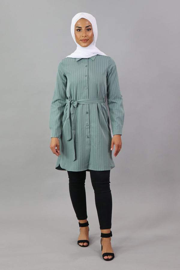 Mint Striped Long Blouse