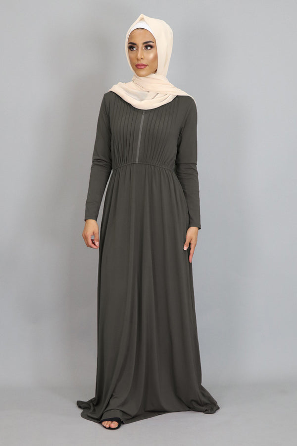 Ash Gray Pleated Spandex Maxi Dress