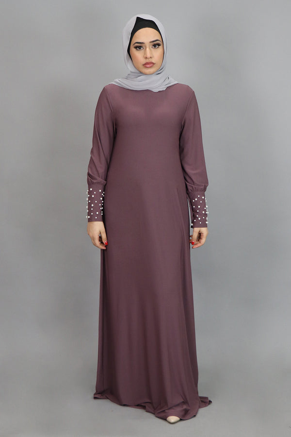 Dark Lavender Pearl Sleeve Spandex Maxi Dress (4549673353273)