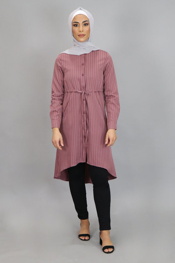 Rose Pink Striped Buttoned-Down Tunic