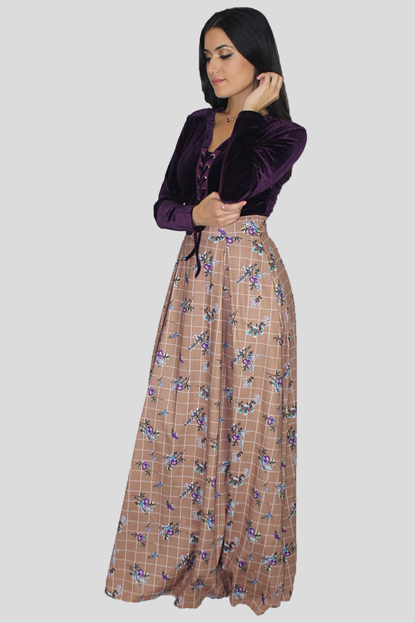 Purple Velvet Floral Maxi Dress (1376193380409)