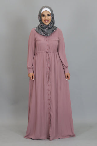 Rose Pink Chiffon Pearls Abaya Cardigan Dress