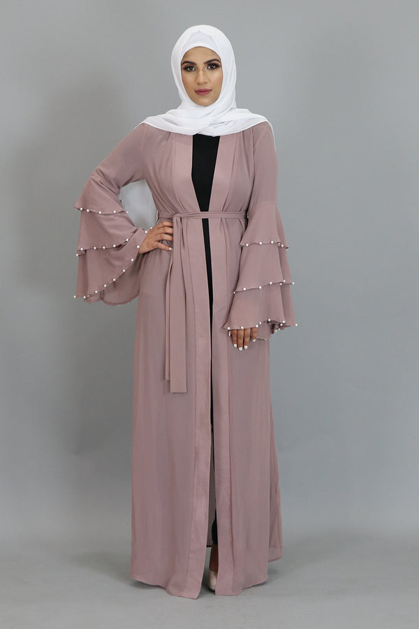 Rose Pink Chiffon Pearls Abaya Cardigan Dress (2346724753465)