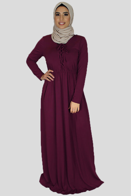 Plum Lace-up Spandex Maxi Dress