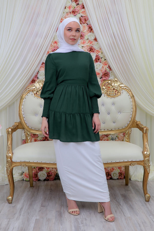 Premium Chiffon Ruffle Top- Emerald Green