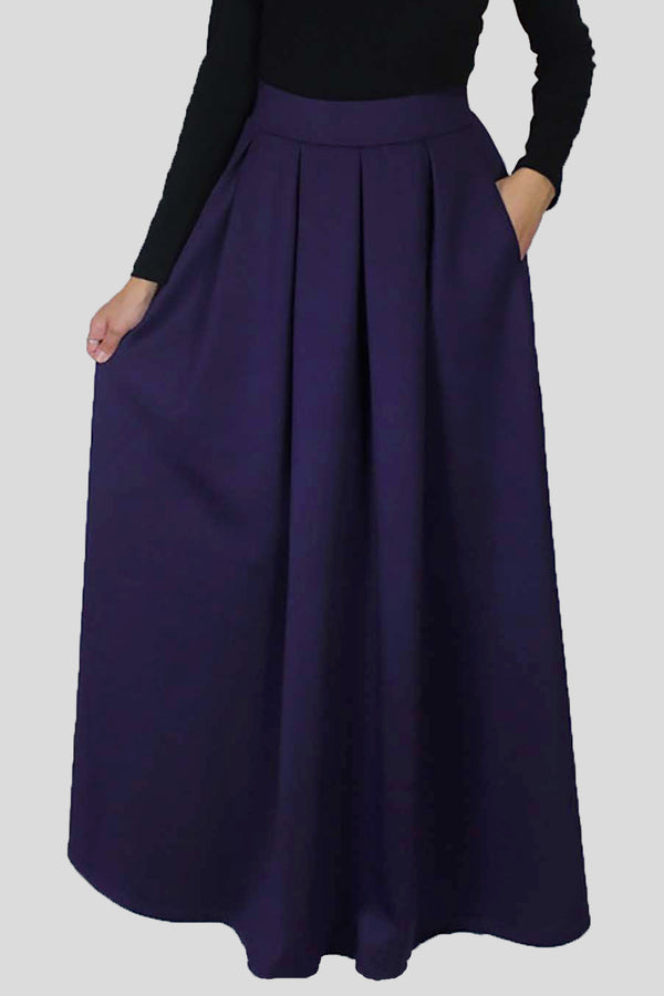 Purple Spandex Folds Skirt (666996801593)