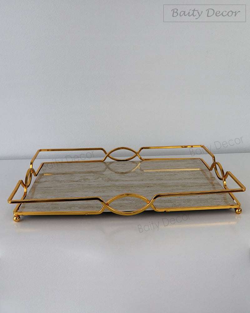 Brown Marble and Gold Tray (4608219938873)