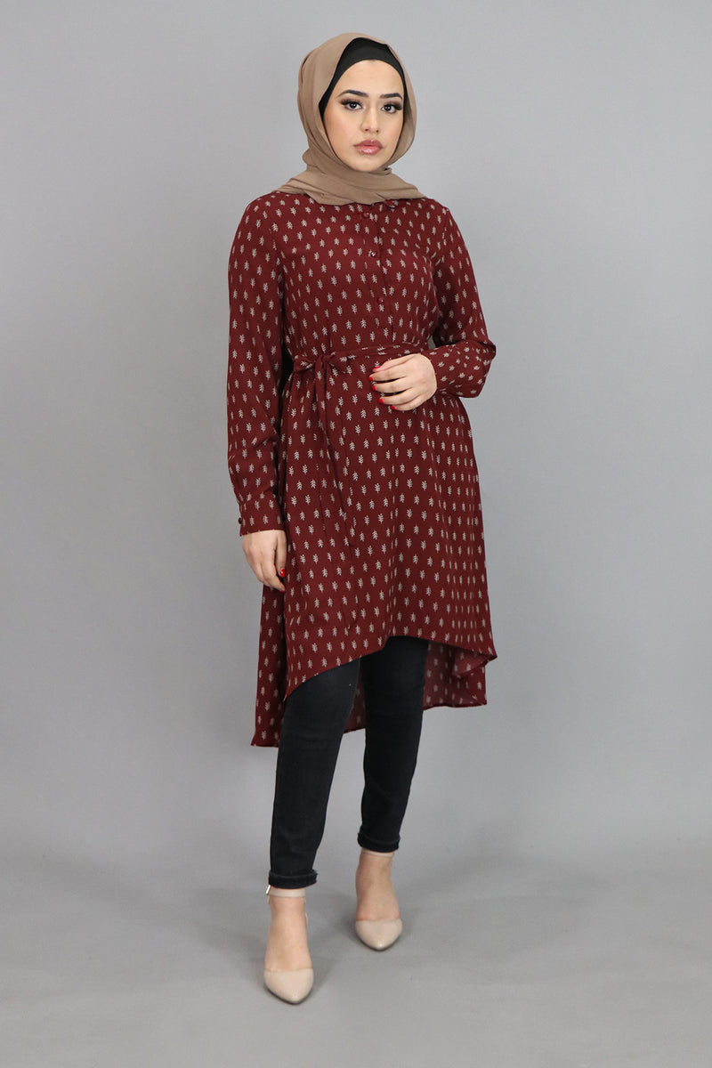 Maroon Leaf High Low Tunic (4547162275897)