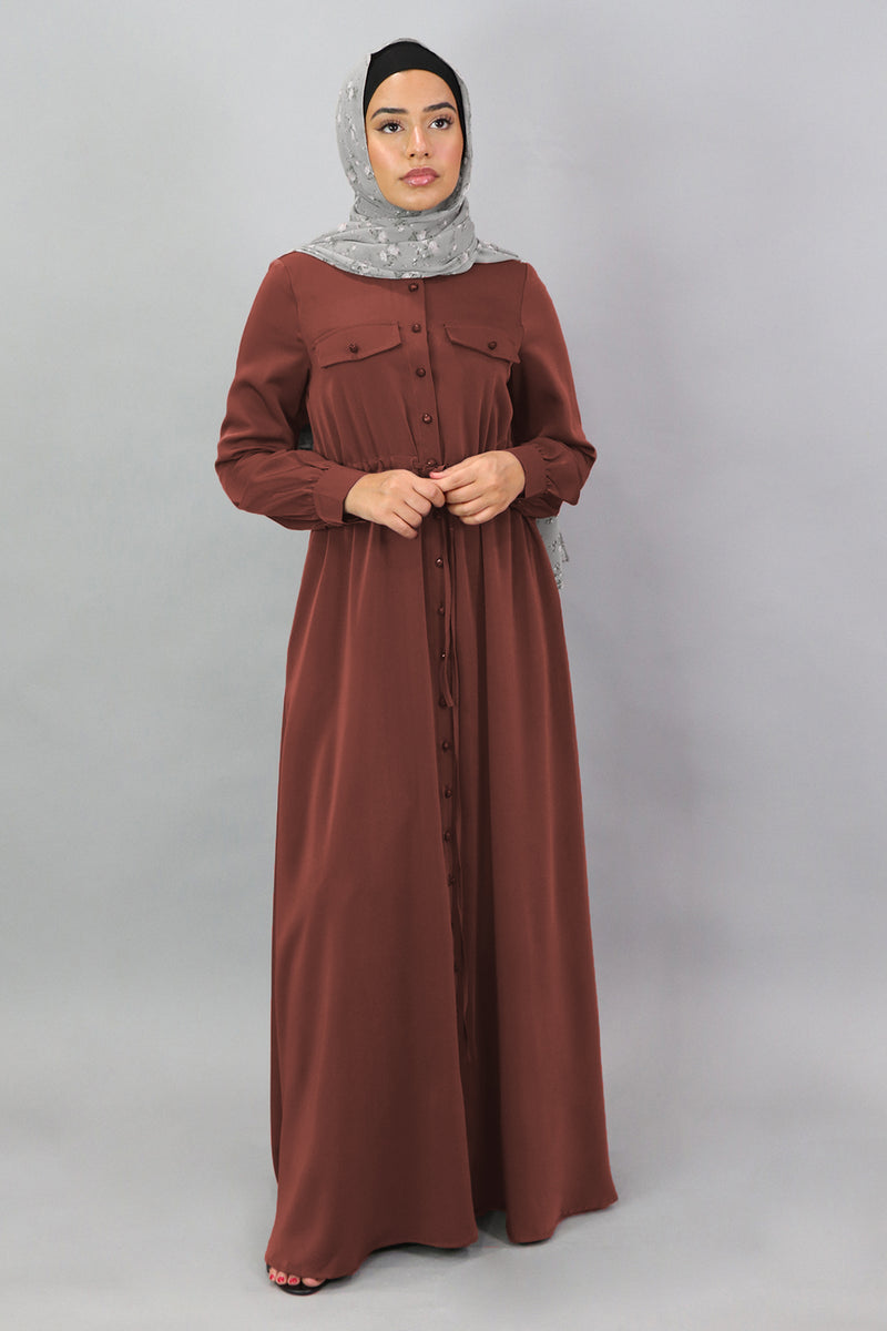 Burnt Sienna Deluxe Soft Button Down Dress (5300792787112)