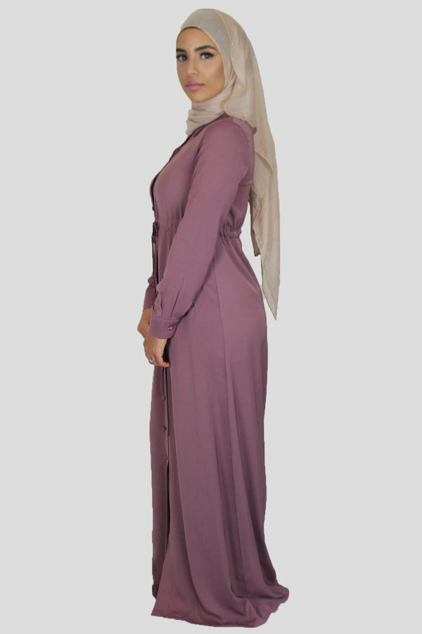 Mauve Buttoned-Down Maxi Dress (1483975000121)