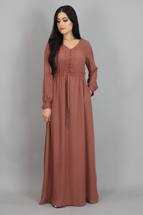 Auburn Lace Chiffon Button Maxi Dress (2479948759097)