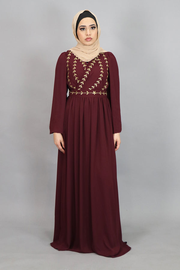 Mahogany Embroidery Folds Maxi Dress (4347456290873)