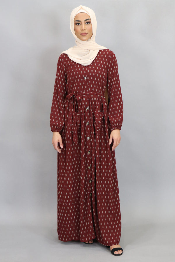 Burgundy Leaf Pocket Buttoned-Down Maxi Dress (4548008443961)