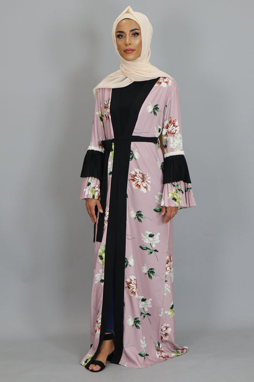 Rose Pink Floral Double Bell Cardigan Dress