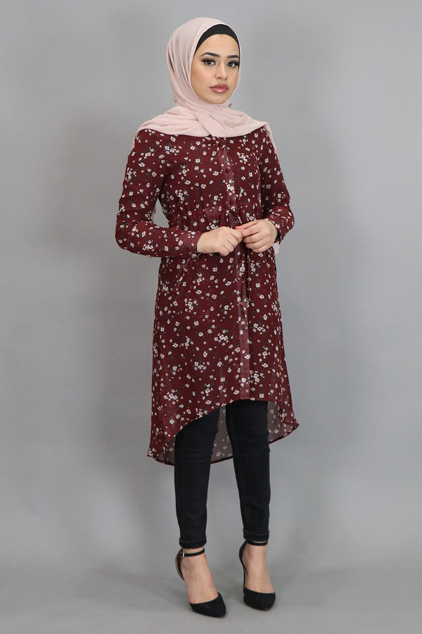 Maroon Floral Buttoned-Down Tunic (4537297338425)
