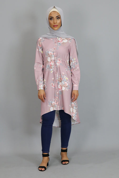 Dusty Rose Floral Buttoned-Down Tunic Dress