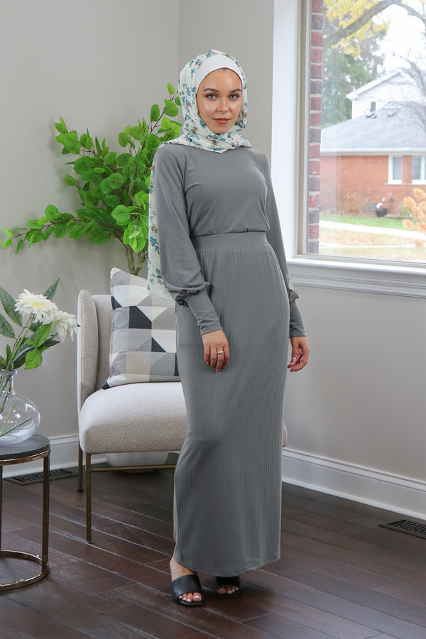 Luxe Ribbed Maxi Skirt - Heather Gray