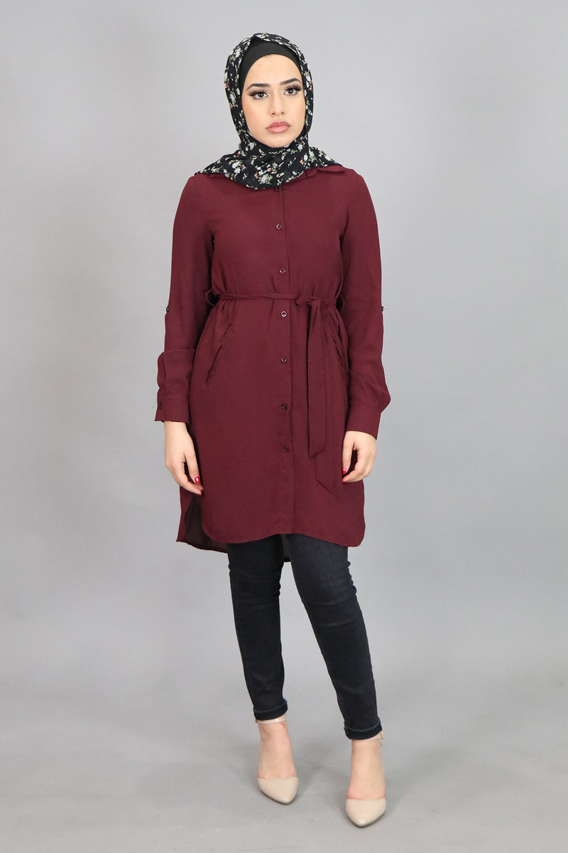 Mahogany Plain Long Blouse (4545278509113)