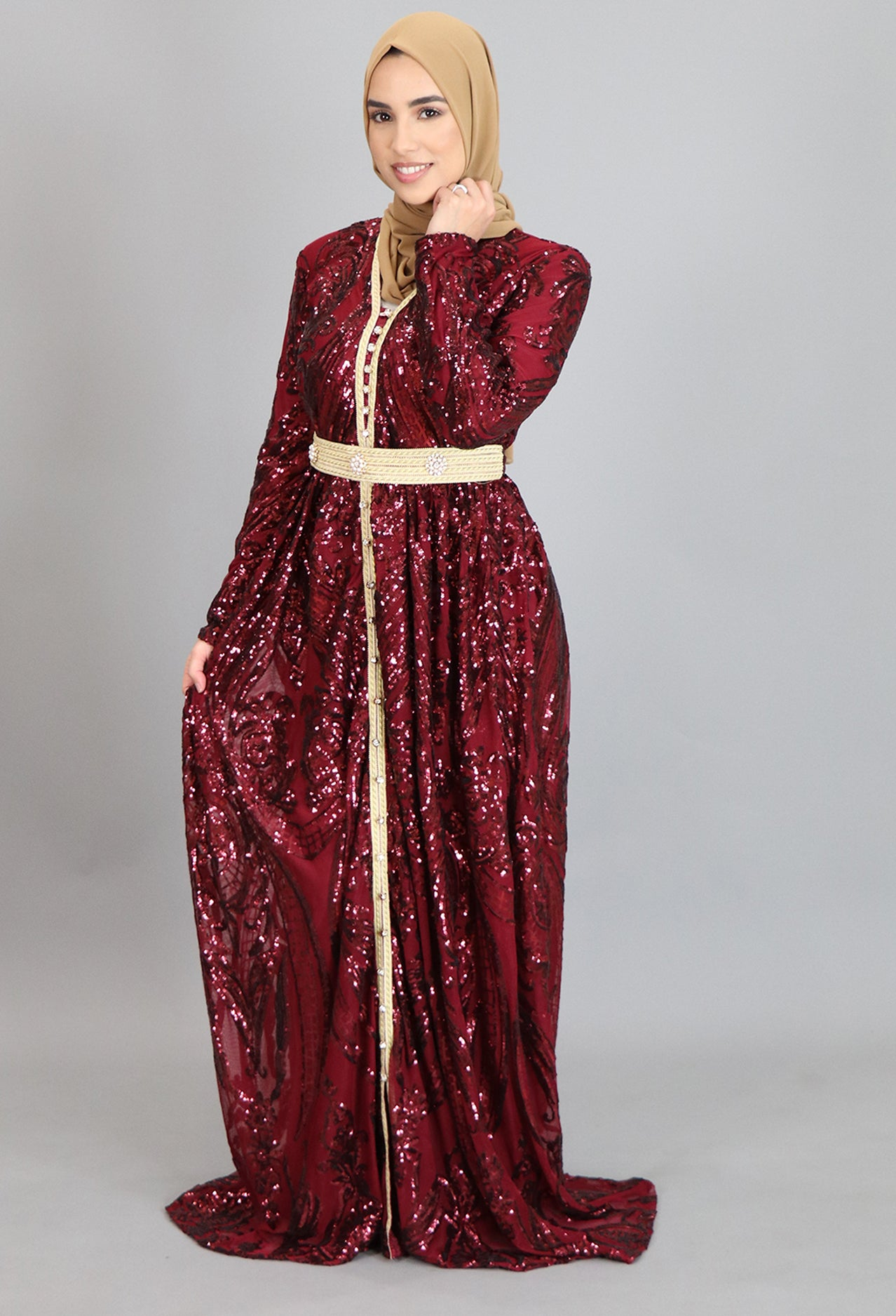 Sparkly Wine Red Moroccan Kaftan (2238450270265)