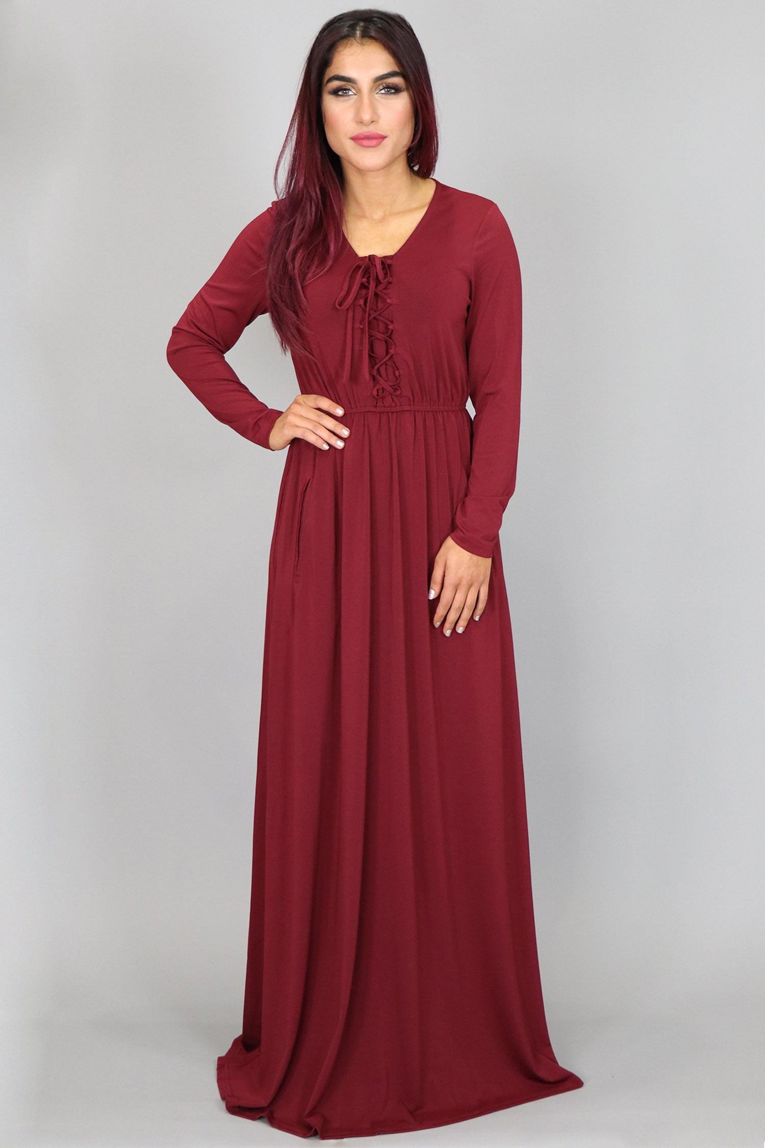 5b610bdc330 Wine Red Lace- up Spandex Maxi Dress – Abayati Fashion