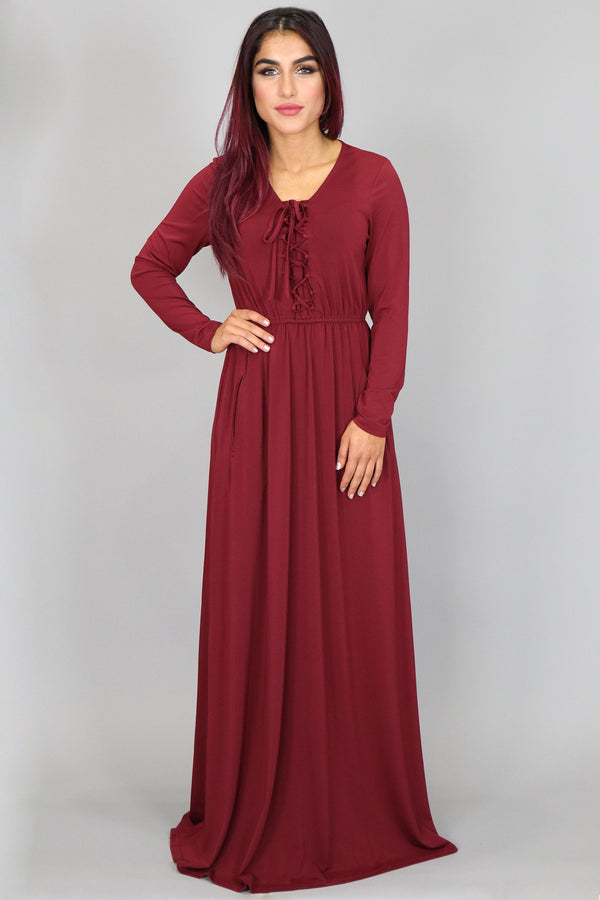 Wine Red Lace- up Spandex Maxi Dress (2097425809465)